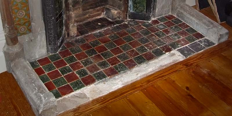 Fireplace Hearths In Square Plain Glazed Tiles Fireplace Tiles