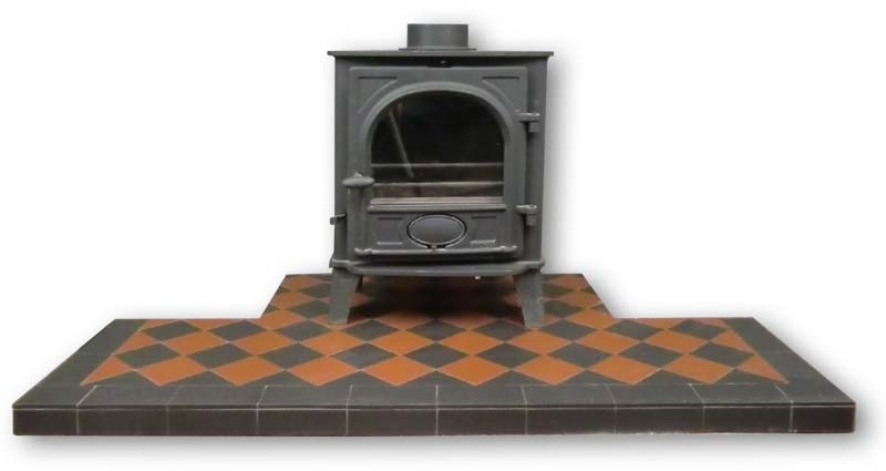 Terracotta and black diamond pattern hearth for a stove