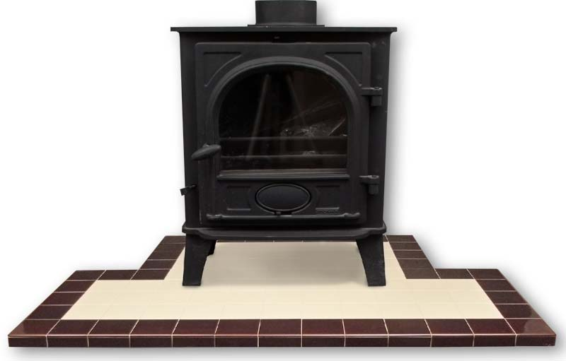 Two coloured hearth with a stove