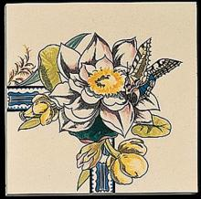Bird and Butterfly Corner Tile 2 with two rounded edges (REX)